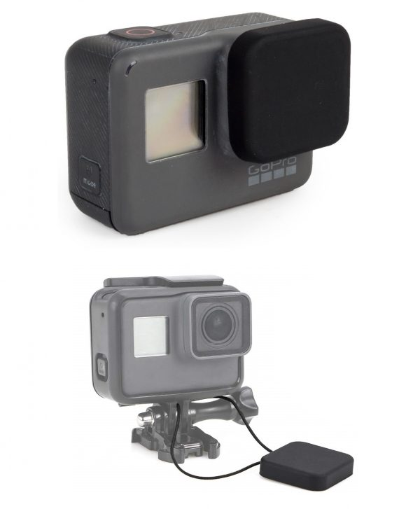 GoPro HERO 5, 6, 7 Silicon Protective Lens Cap Cover + Tether-0