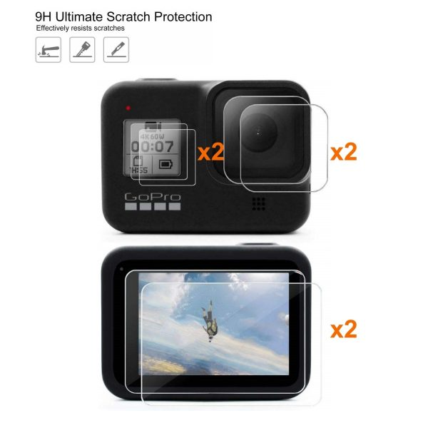 6 Pack GoPro Hero 8 Tempered Glass 9H Lcd Screen and Lens Protector-0